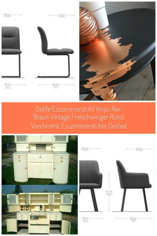 Delife Esszimmerstuhl Vinjo Flex Braun Vintage Freischwinger