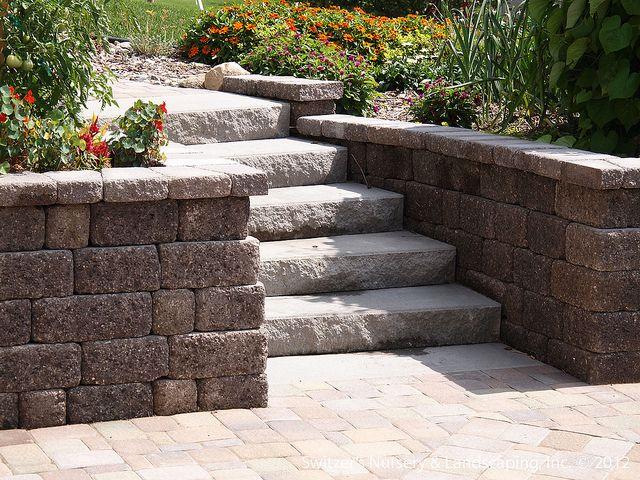 paver patio under deck with retaining wall & steps - minnesota ... - Patio Steps Ideas