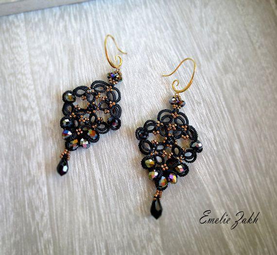 Check out Tatting lace black chandelier earrings.Earrings ...