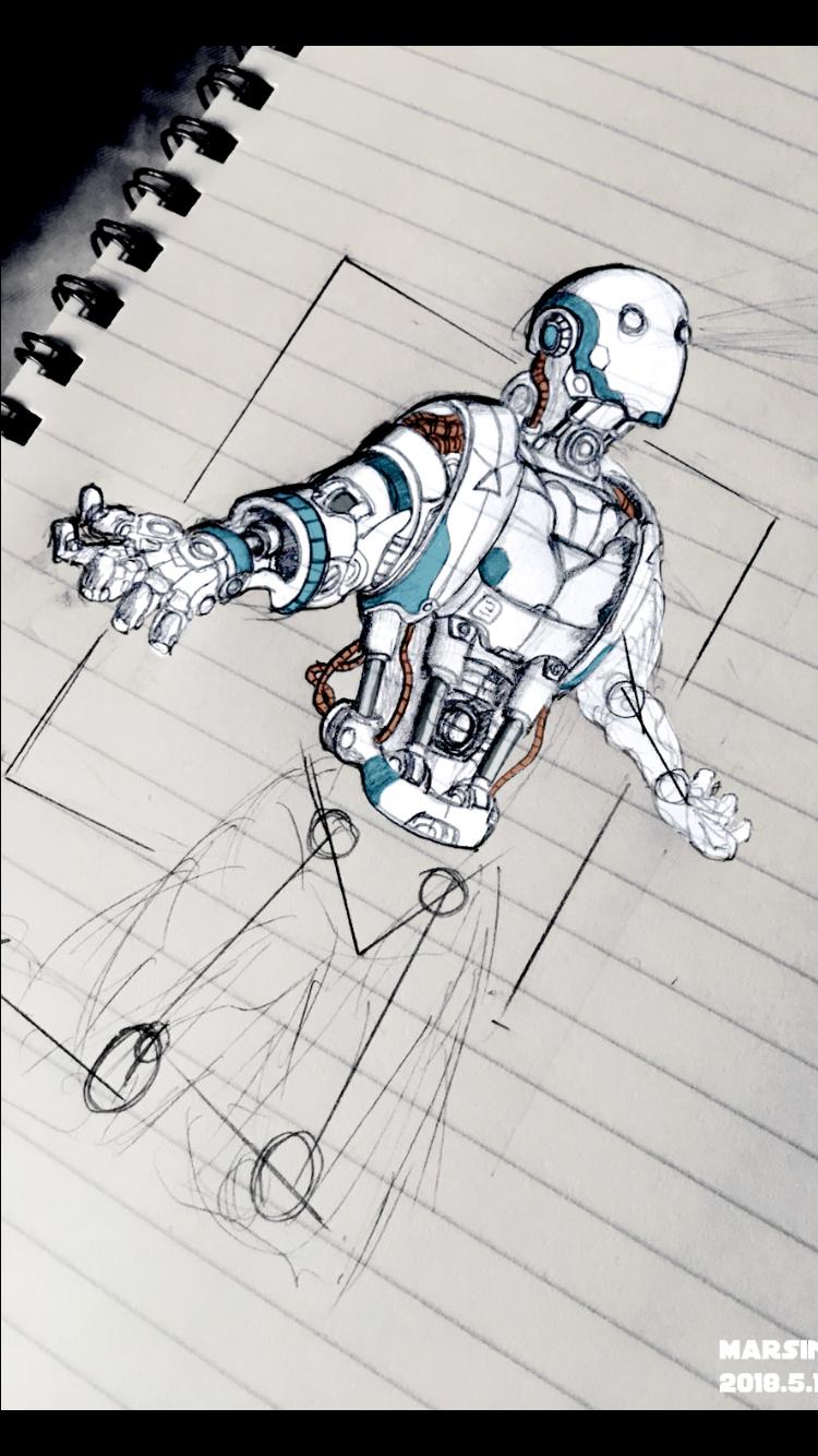 Cyberpunk android robot parts i robot pencil art pencil drawings