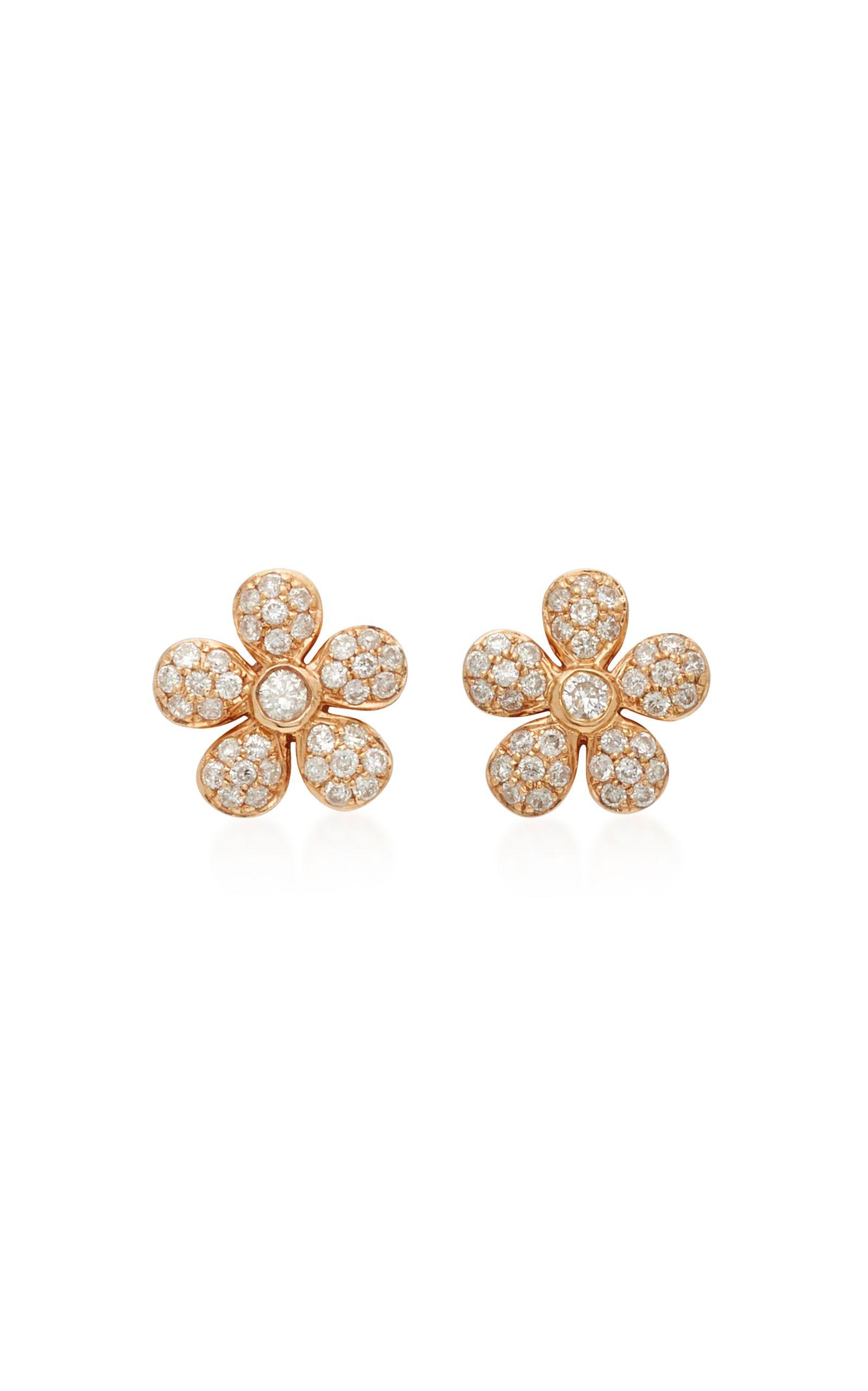 Baby Flower 18k Rose Gold Diamond Earrings Moda Operandi