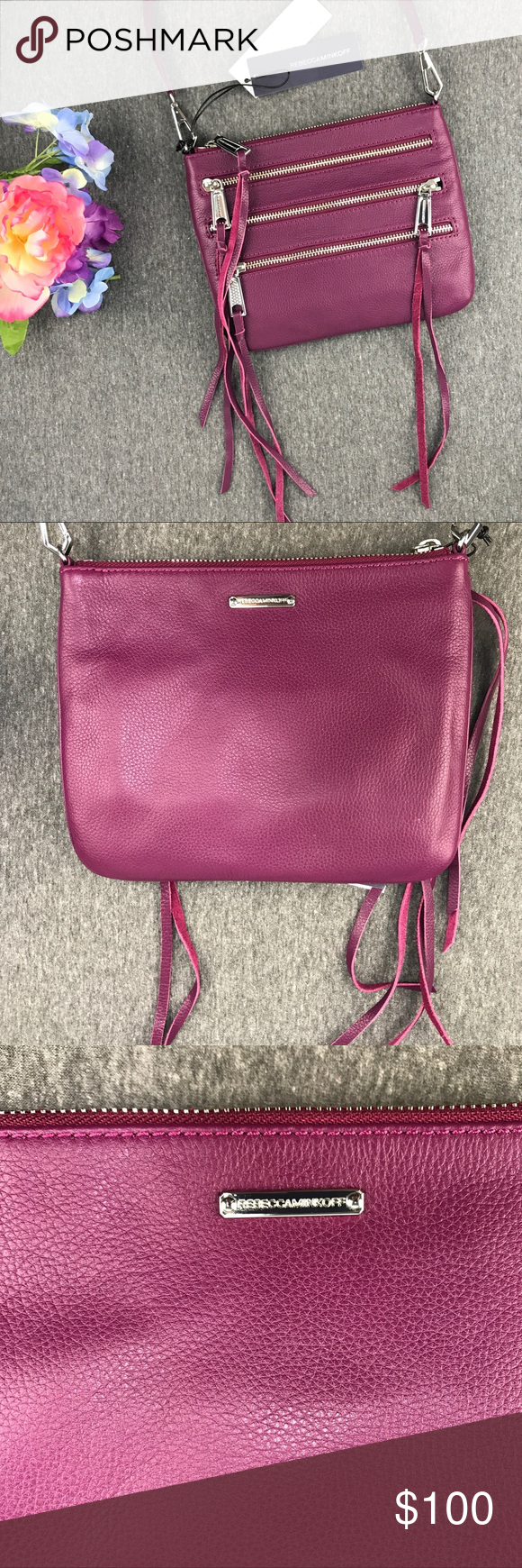 f688dbe81a NWT Rebecca Minkoff 3 Zip Rocker Crossbody A cute and simple fuschia  crossbody with two front zip pockets and a decorative zip all accented with  tassels!
