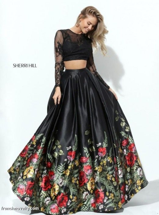 90a54c1c945   SOLD  Size 8 Black-Multi Style 50599 from Sherri Hill is a long two-piece  ball gown with lace sleeves and a floral printed skirt.