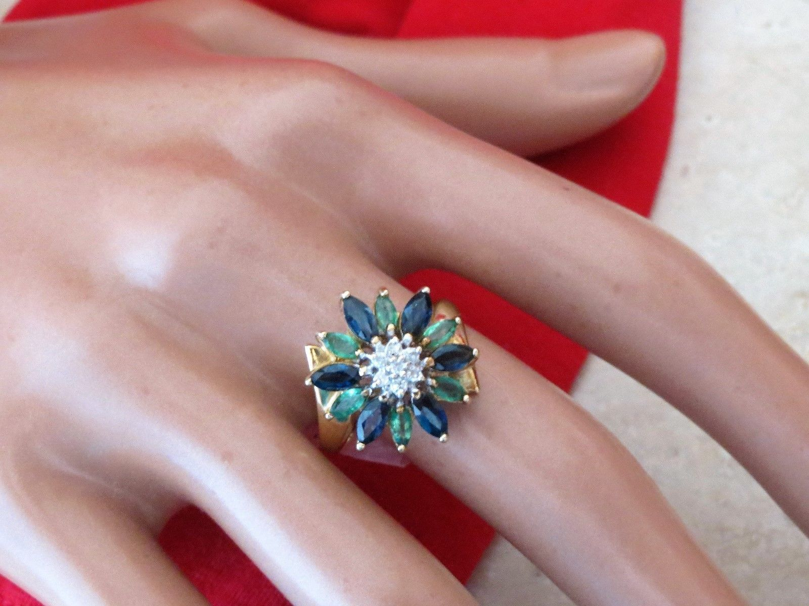Flower Design Wedding Ring, Sapphire Emerald Diamond 1.20 TCW Set in ...