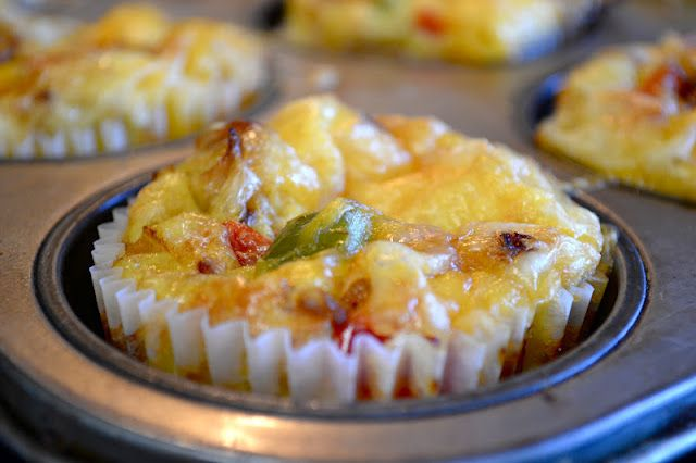 Omelette Muffins: fry onion and ham with margarine. Add in peppers. fill half of each muffin paper. Add 3/4 of the cheese. Beat eggs together, adding in crumbled crackers. Fill each muffin paper with egg mixture, then top with remaining filling and cheese. Bake @175c for 30 minutes.
