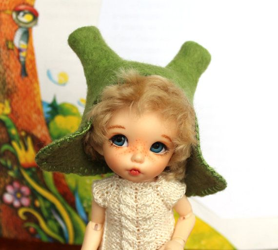 "Felted hat ""Shrek"" for PukiFee, Aquarius, Lati Yellow (size 5-6)"