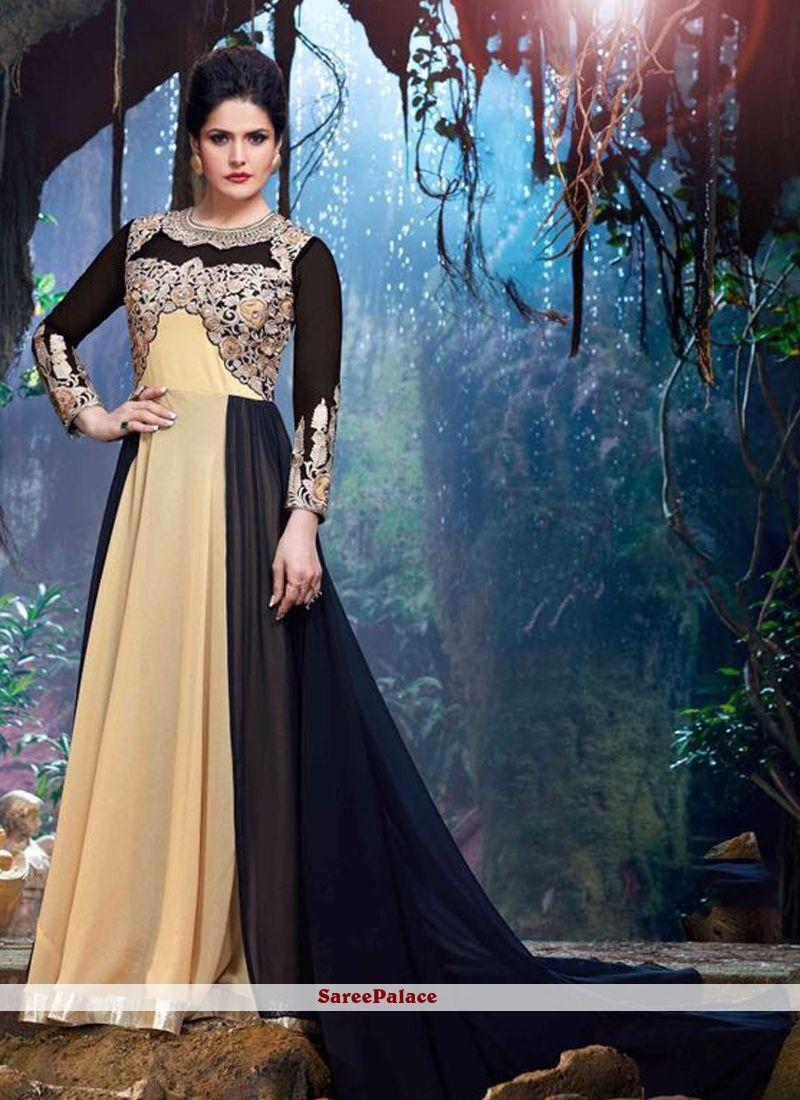 Zarine Khan Patch Border Work Beige Designer Suit