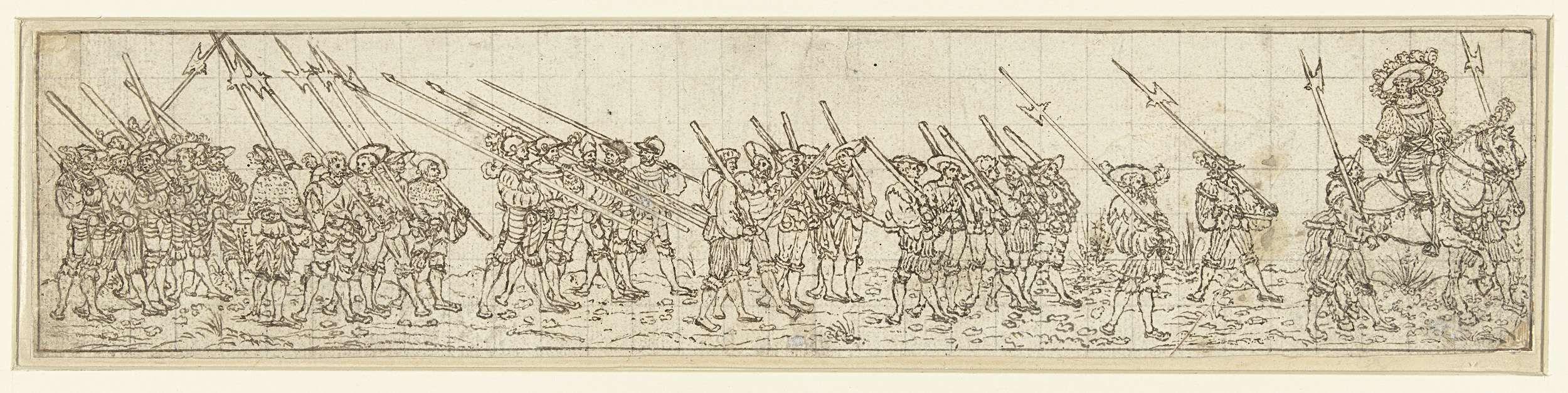1510 - 1550 possibly Hans Sebald Beham,  Procession of musketeers, halberdiers and spearmen, preceded by a rider. (Optocht van musketiers, hellebaardiers en lansdragers, voorafgegaan door een ruiter)