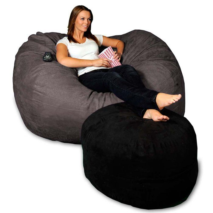 Micro Suede Theater Beanbag Lounger At Brookstone Now