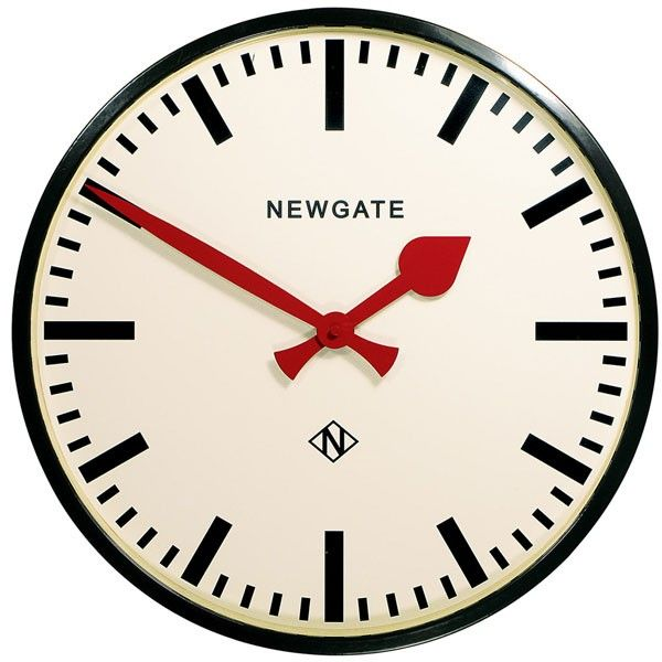 NEWGATE CLOCKS Putney Large Black Station Round Analogue Wall Clock Kitchen 45cm