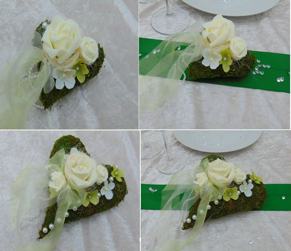 Tischdeko Hochzeit Kommunion Taufe Moosherz Creme Wei Grn Tischschmuck  Tischdeko  Tischdeko hochzeit Tischdeko und Hochzeit grn