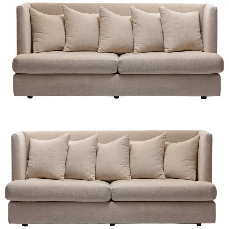 Milo Baughman Ivory Beige Shelter Sofa Pair Available Priced