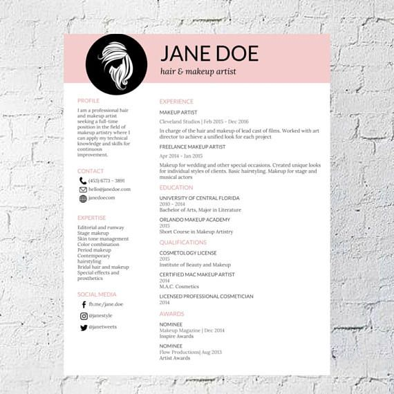 Hair Stylist + Makeup Artist Resume Template Google Document