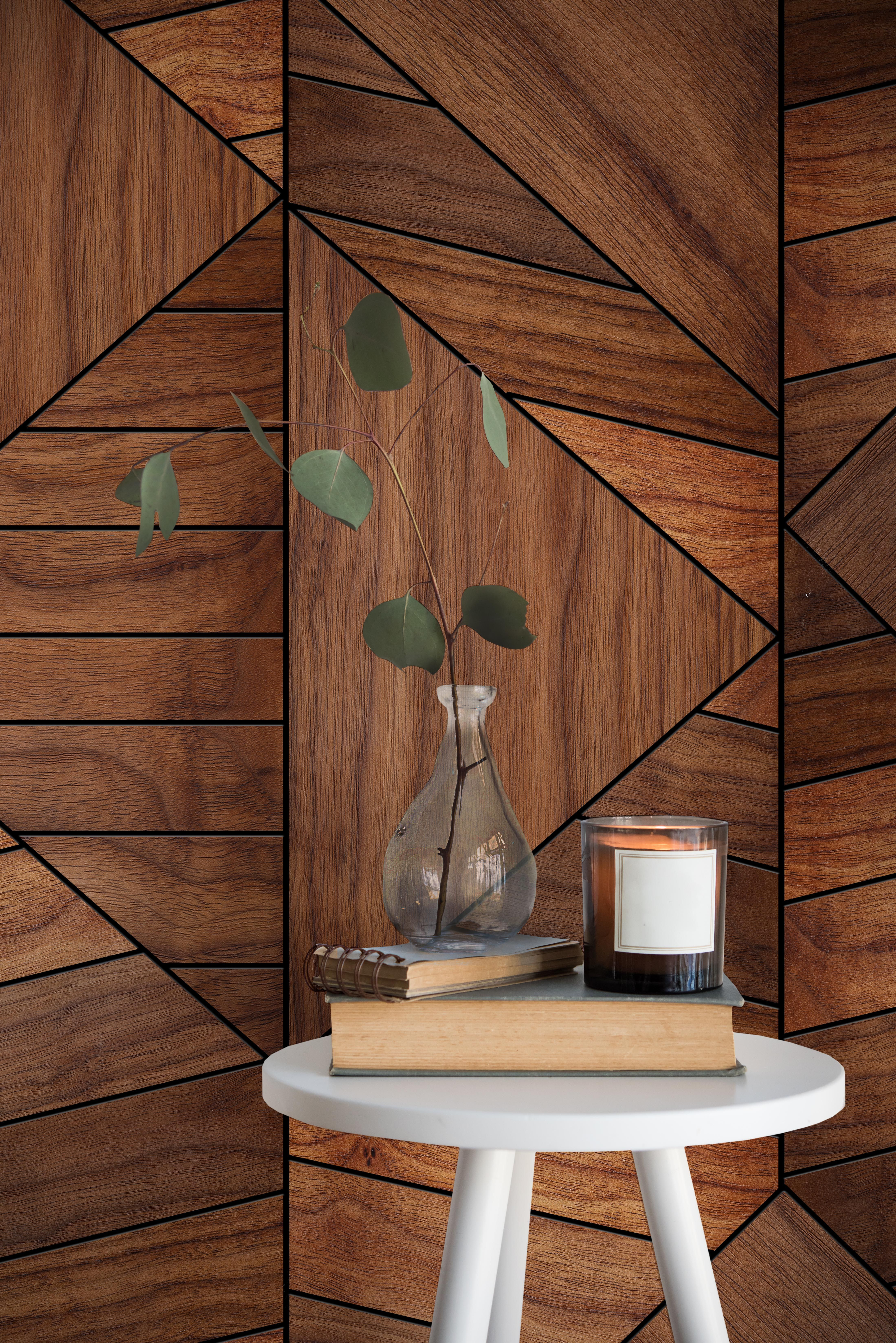 Wood Look Wallpaper Large Scale Walnut Panels In An On Trend Geometric Design Stunning P Wood Wall Design Geometric Wood Wallpaper Geometric Interior Design