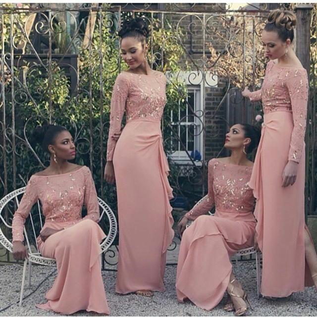 Sparkly Rose Gold Cheap 2018 Mermaid Bridesmaid Dresses Off Shoulder ... 3c26fc317229