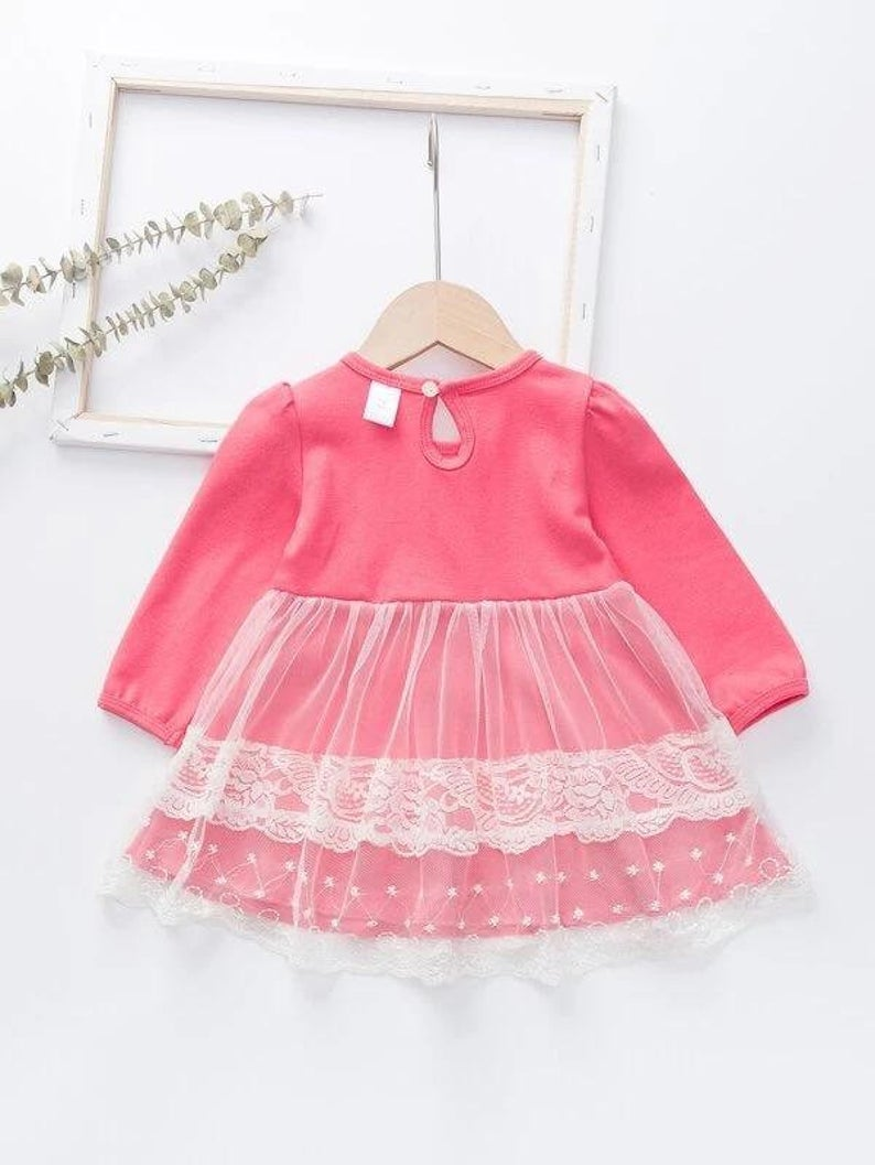 Baby Girl Mesh Panel Embroidery Dress Baby Pink Dress Baby  Etsy