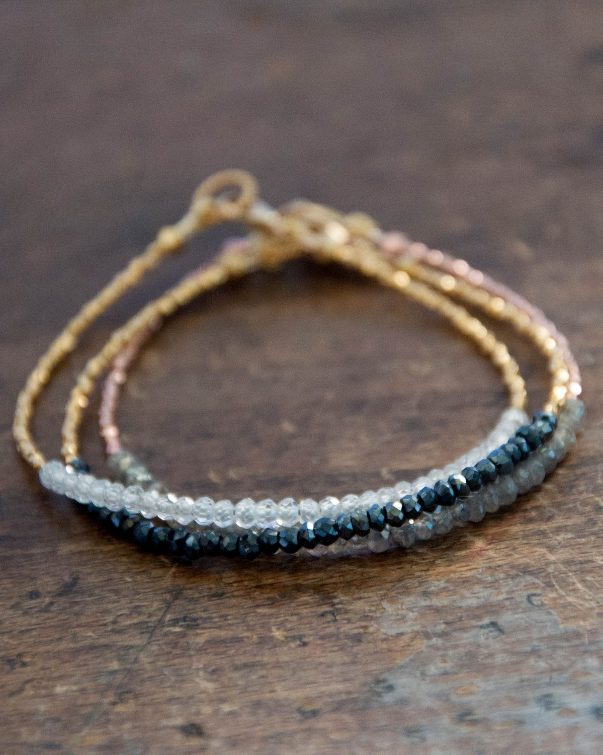Handmade minimalist gold vermeil black spinel beaded tennis bracelet
