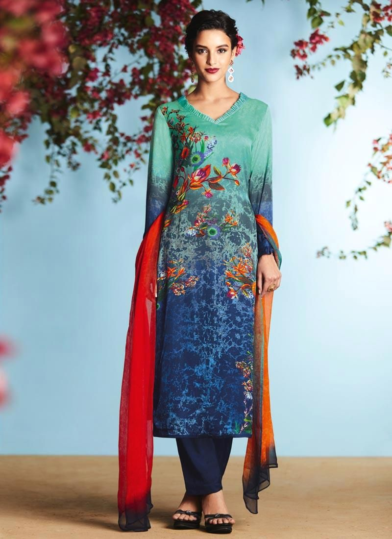 Buy Kareena Kapoor cream and green georgette straight cut salwar kameez in  UK, USA and Canada