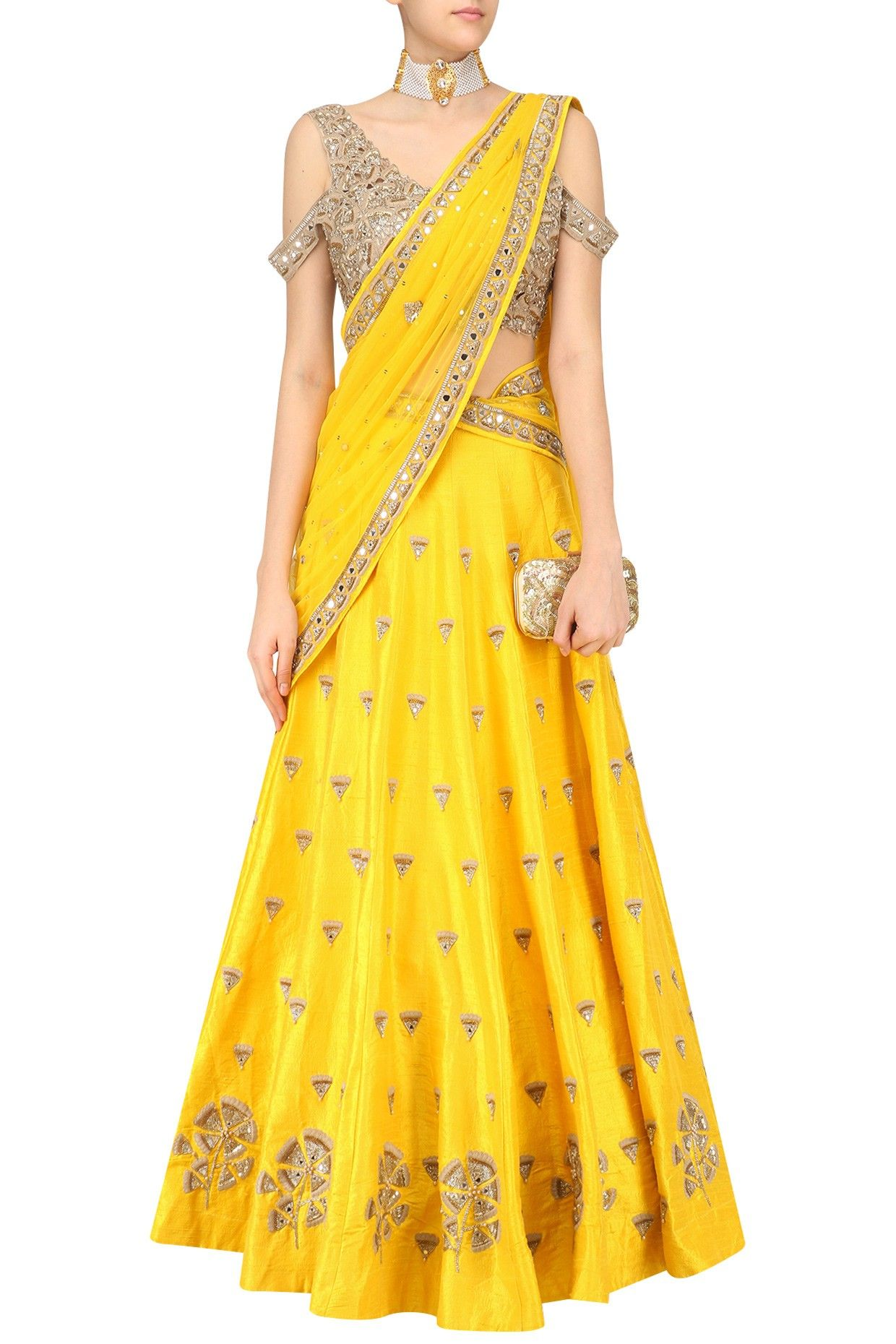 eec1b1f5ae90f a yellow lehenga with gingko embroidery all over. It comes along with a  short sleeve open shoulder gingko embroidered blouse and a yellow net  dupatta with ...