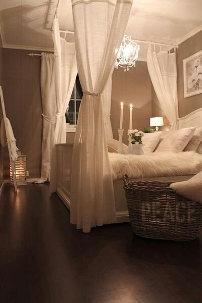 Love this room and the large bedside basket to throw pillows in when they are not on the bed. I need one!