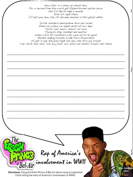 Cute For this fun activity students are given the Fresh Prince of Bel Air lyrics altered to