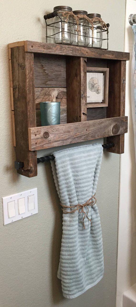 Reclaimed Wood Bathroom Shelf With Metal Towel Rack Bathroom Shelves Bathroom Wood Shelves Wood Bathroom