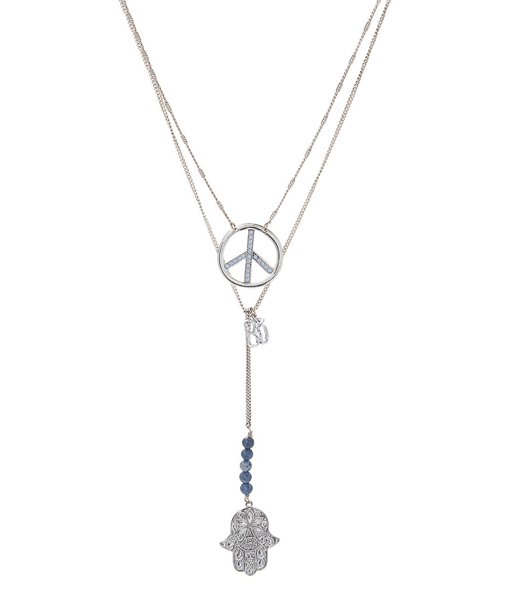 Blue & Silvertone Hamsa & Peace Pendant Necklace Set
