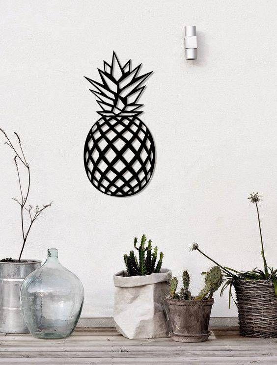 Metal Wall Art Geometric Pineapple Home Decor Metal Wall Etsy Geometric Wall Decor Stylish Wall Art Metal Wall Art