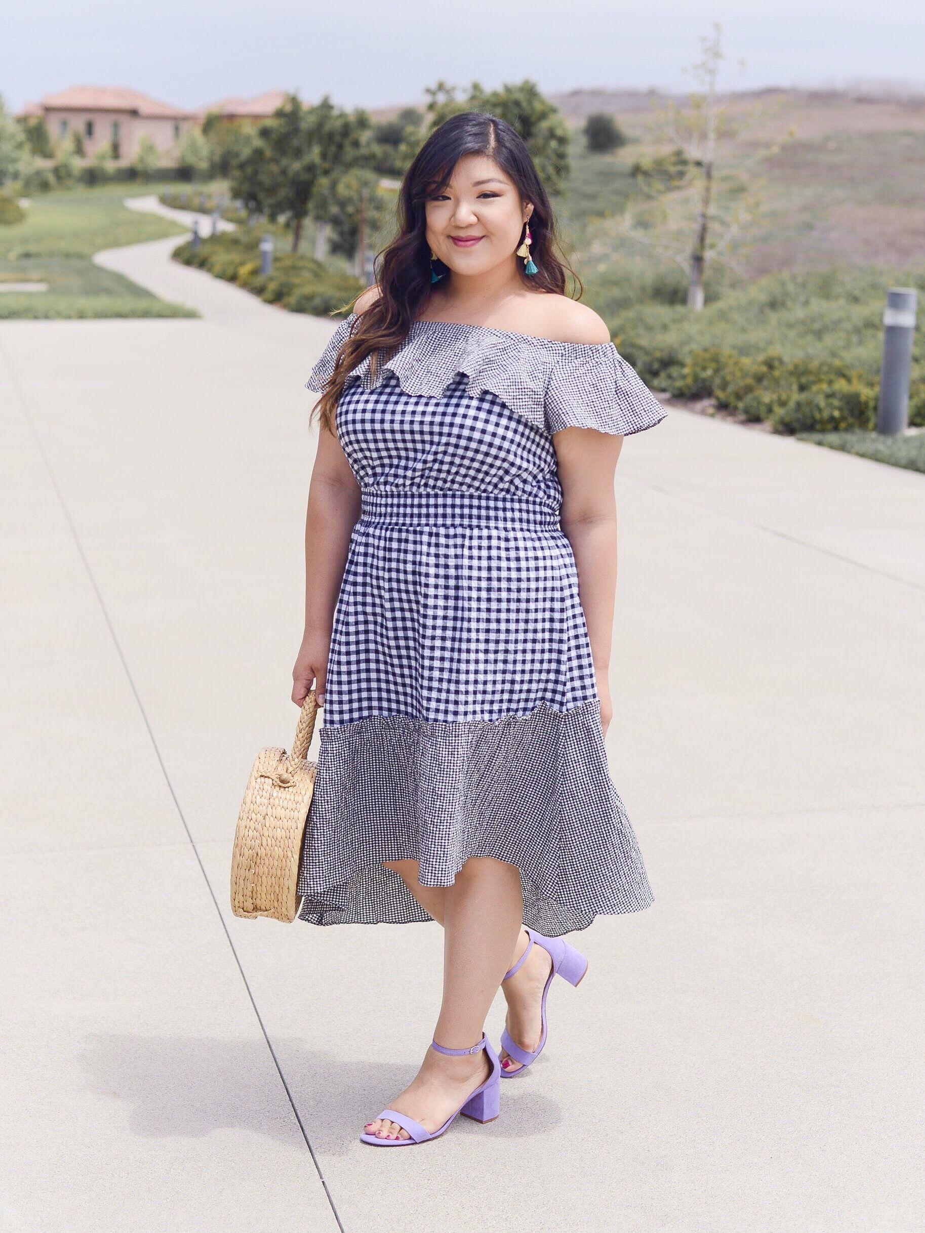 cbeec733c Curvy Girl Chic RACHEL Rachel Roy Curvy Plus Size Gingham Off Shoulder Dress  from Macy's