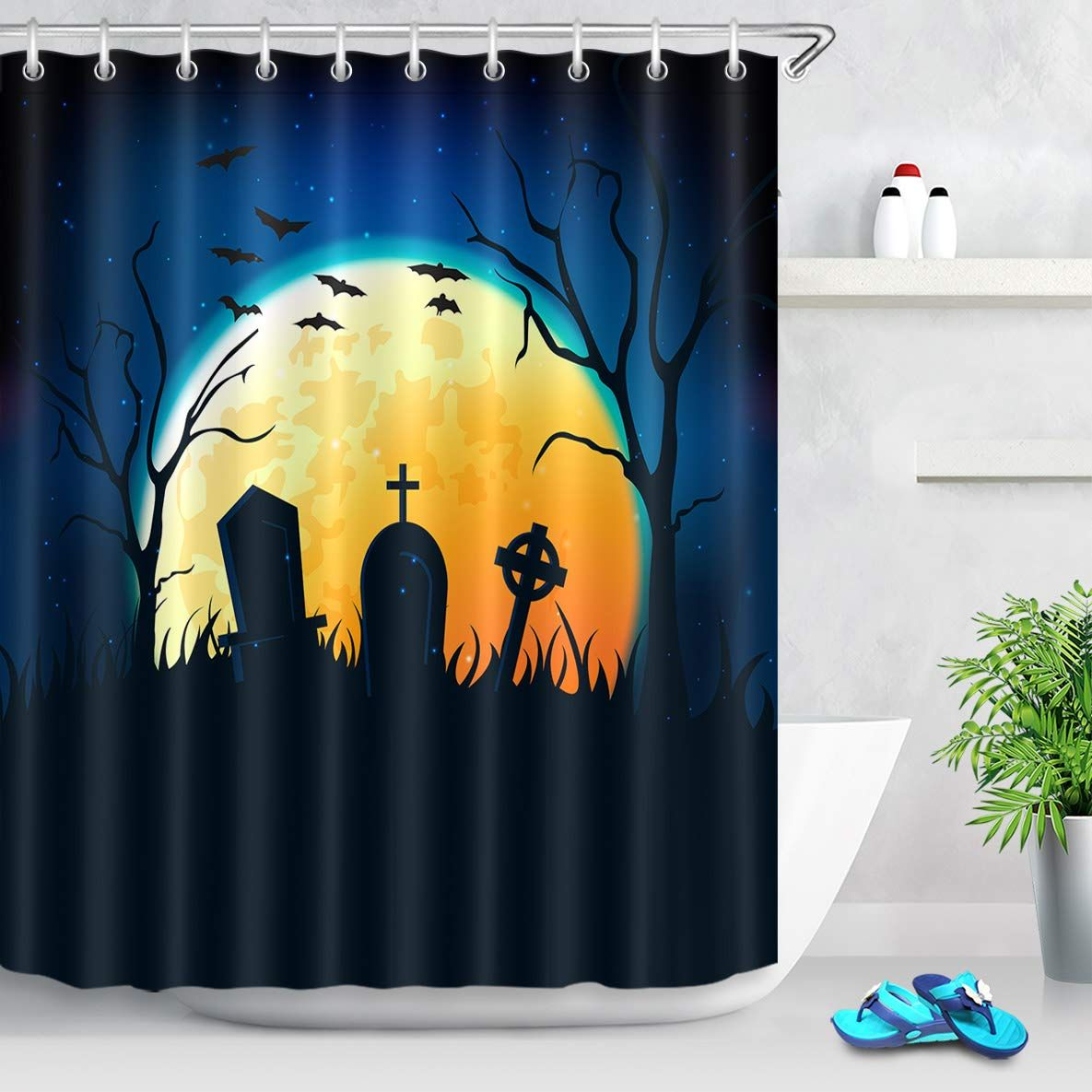 Lb Spooky Moon Night In Graveyard Artistic Shower Curtain Vintage