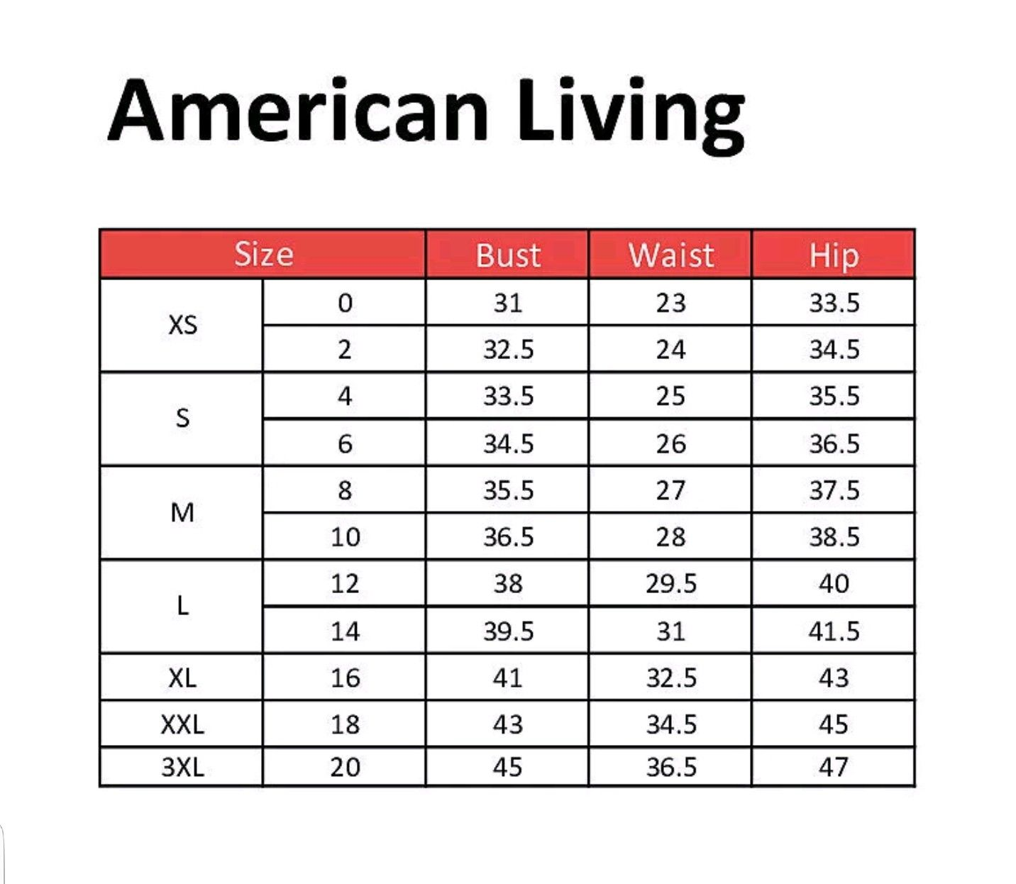American Living | Name Brand Clothing Size Charts | Clothing