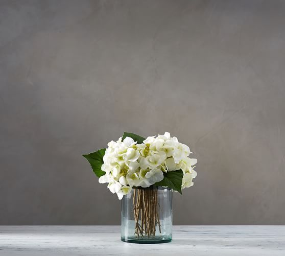 Faux White Hydrangea Arrangement In Glass Vase Pottery Barn Hydrangea Arrangements Recycled Glass Vases Clear Glass Vases