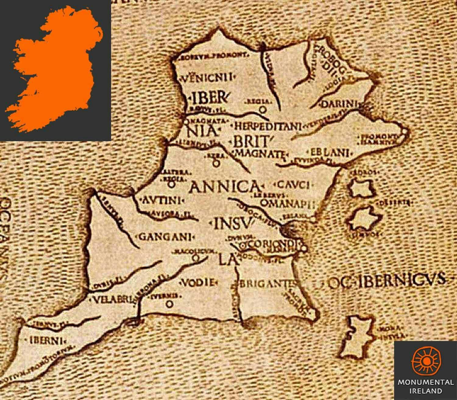 Oldest Map Of Ireland.This Map Created By Greek Cartographer Claudius Ptolemy In 140 A D