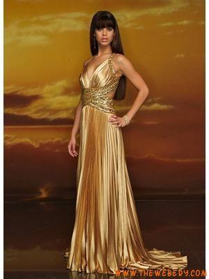 new styles 6750b e4924 Champagne Anello V-Scollo stile Oro vestiti da sera ...
