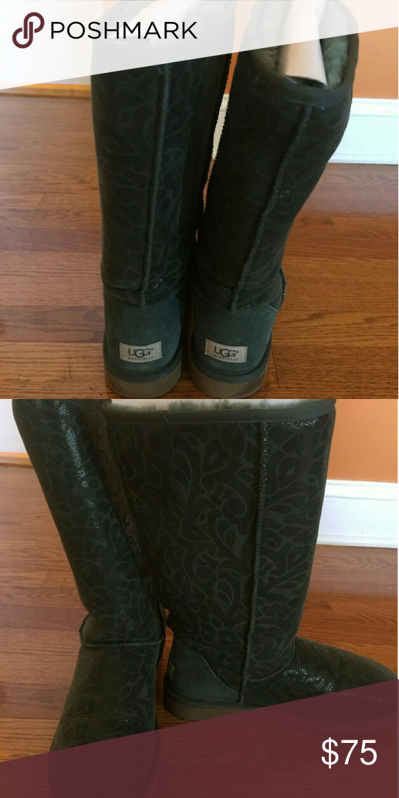 4920db5ba1fa Ugg Boots Gently Worn Tall Forest Green Uggs UGG Shoes Winter   Rain Boots