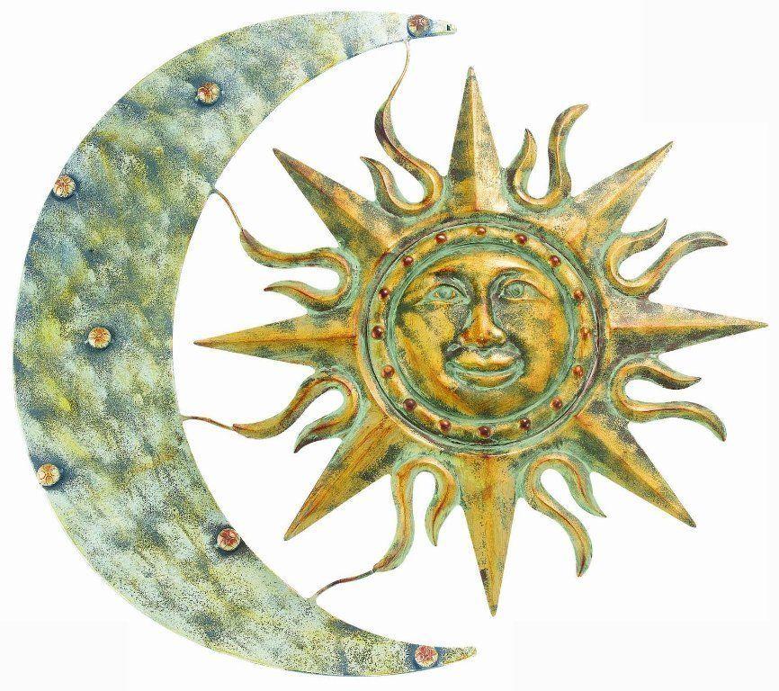 AZTEC SUN MOON METAL WALL ART GARDEN DECOR YARD INDOOR OUTDOOR PATIO ...