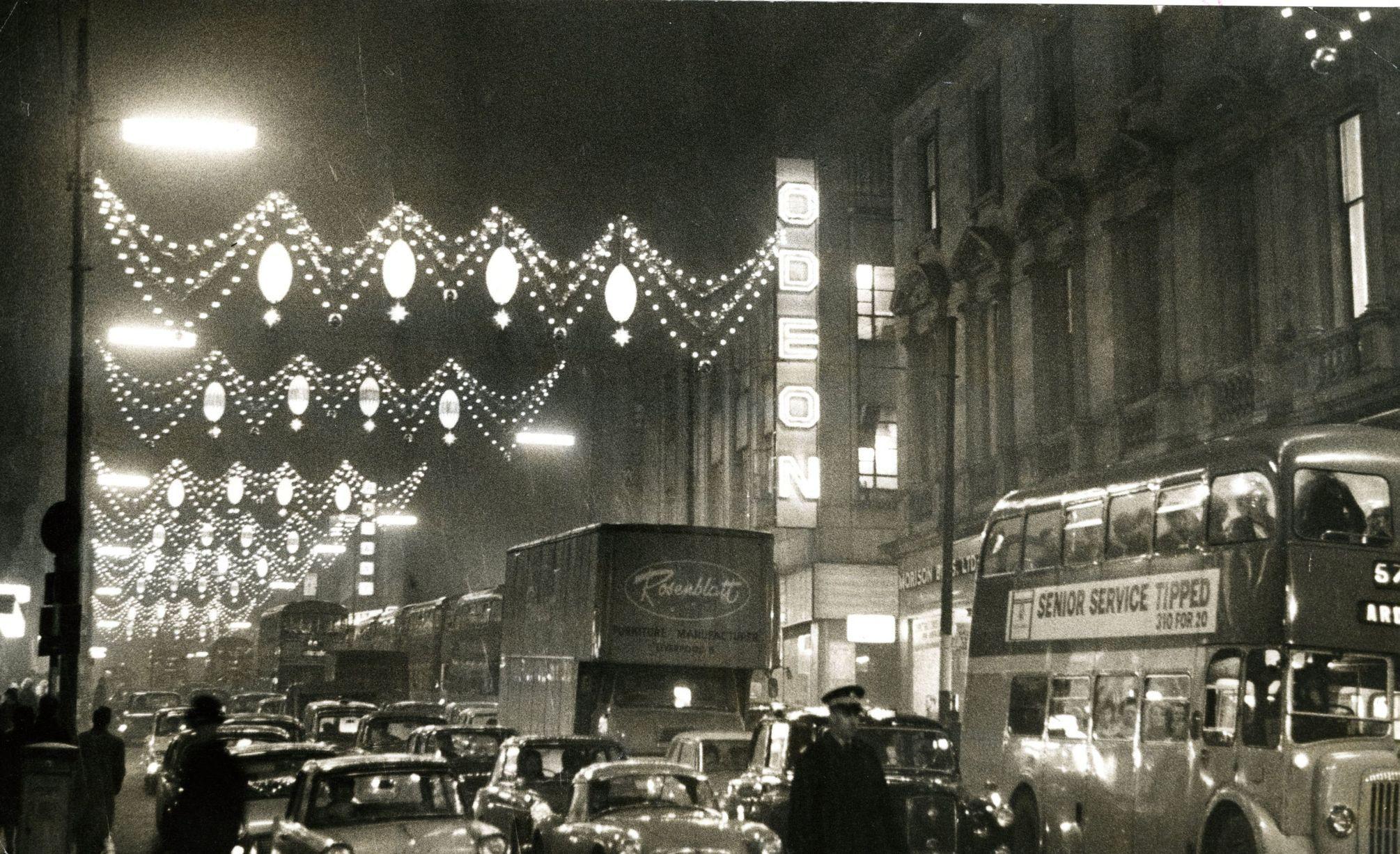 Christmas Lights Outside The Odeon Cinema On Renfield Street 1964