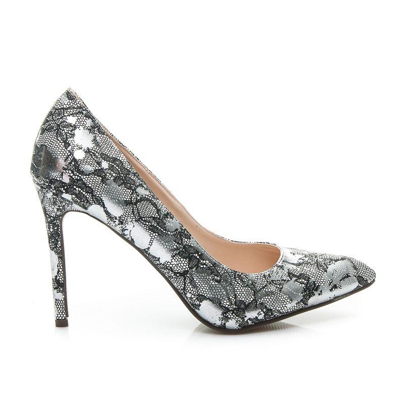 Srebrne Szpilki Elegance Stylowe Obcasy Wedding Shoe Heels Pumps