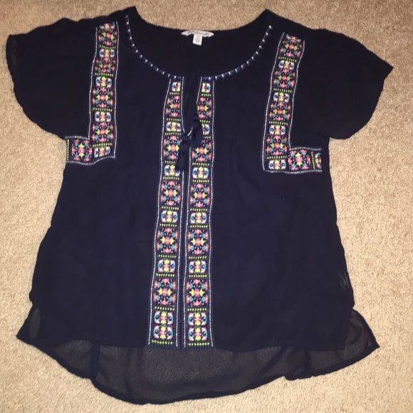 Dark blue boho top American Eagle navy, semi sheer short sleeve top. American Eagle Outfitters Tops