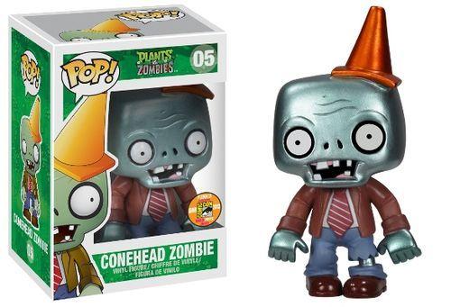 Pop! Plants Vs. Zombies Conehead Zombie Metallic Figure SDCC 2013 Exclusive