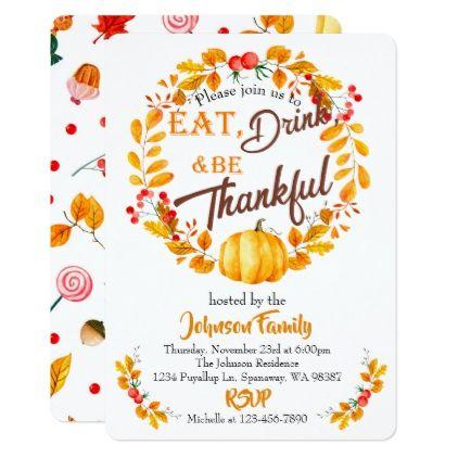 Fall Wreath Thanksgiving Dinner Invitation  Dinner Invitations