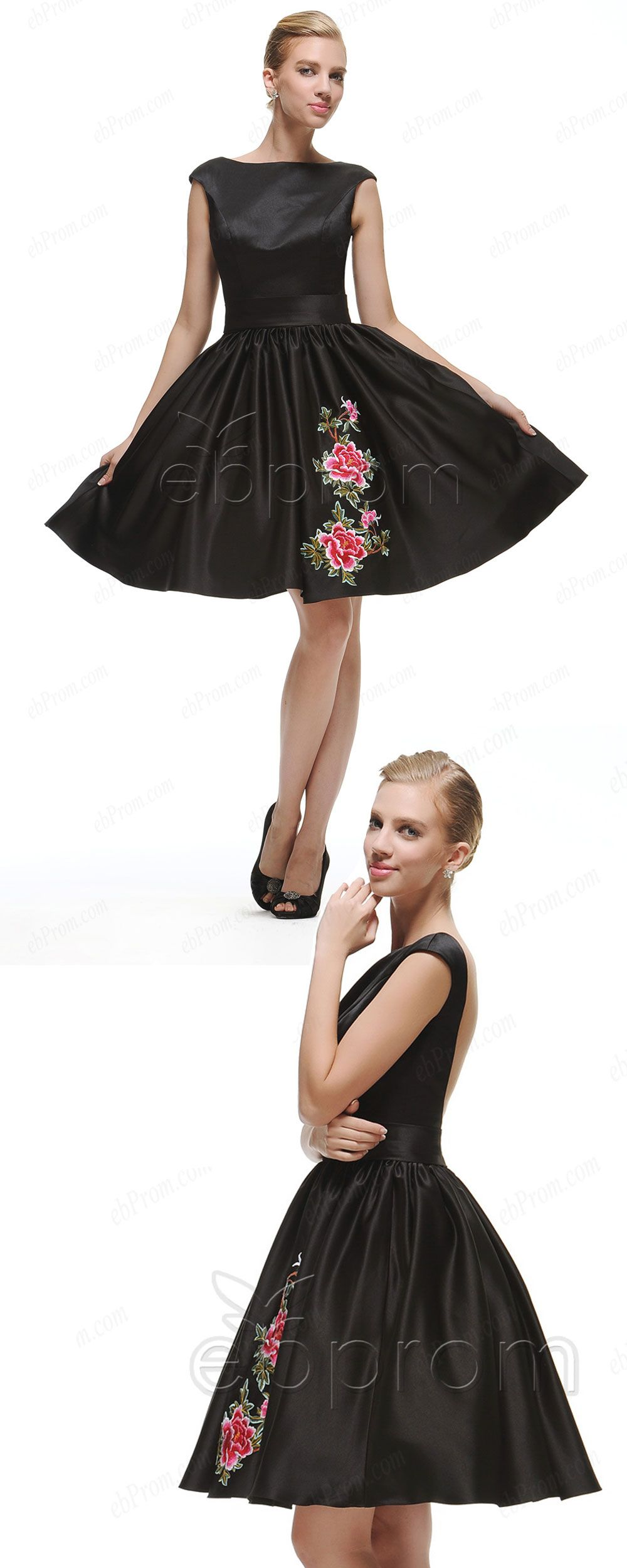 Black backless short prom dresses with embroidery | Short prom ...