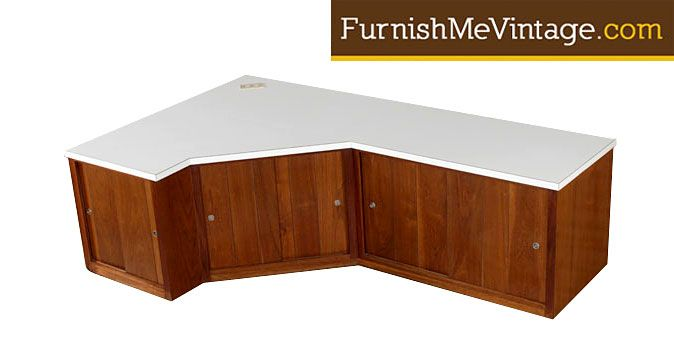 Vintage Custom Made L Shaped Corner Cabinet Ideal For Use As An Entertainment Center Table Top Is A Durable White Laminate Formica