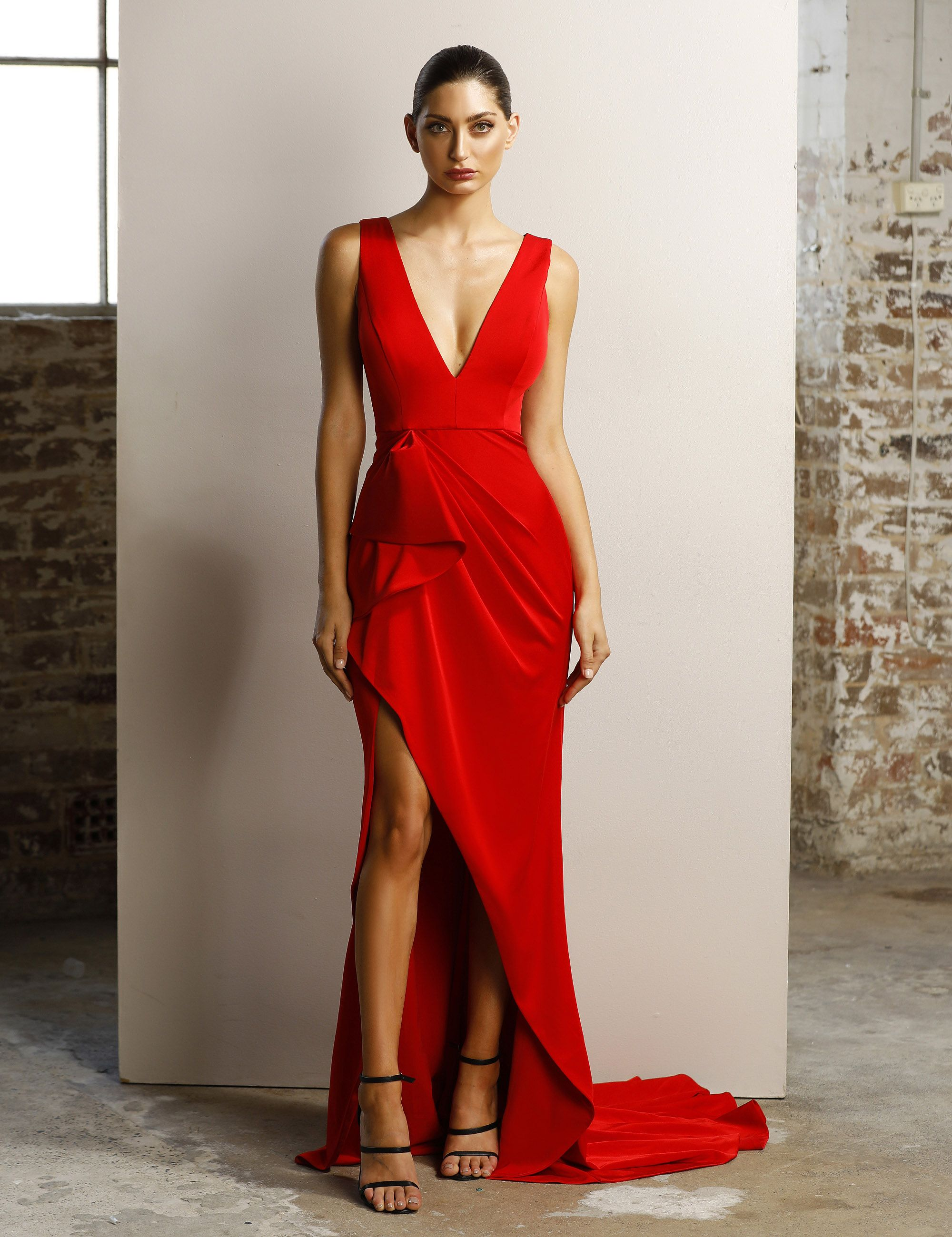 385c33c791c Robe longue rouge coquelicot