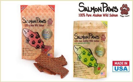 Fish isn't just for cats anymore. Get two 4oz. packs of Salmon Paws Jerky treats in your choice of 100% Alaskan Wild Salmon or 100% Alaskan Wild Salmon with Organic Broccoli! These treats are hand-made, baked, and made in the USA.