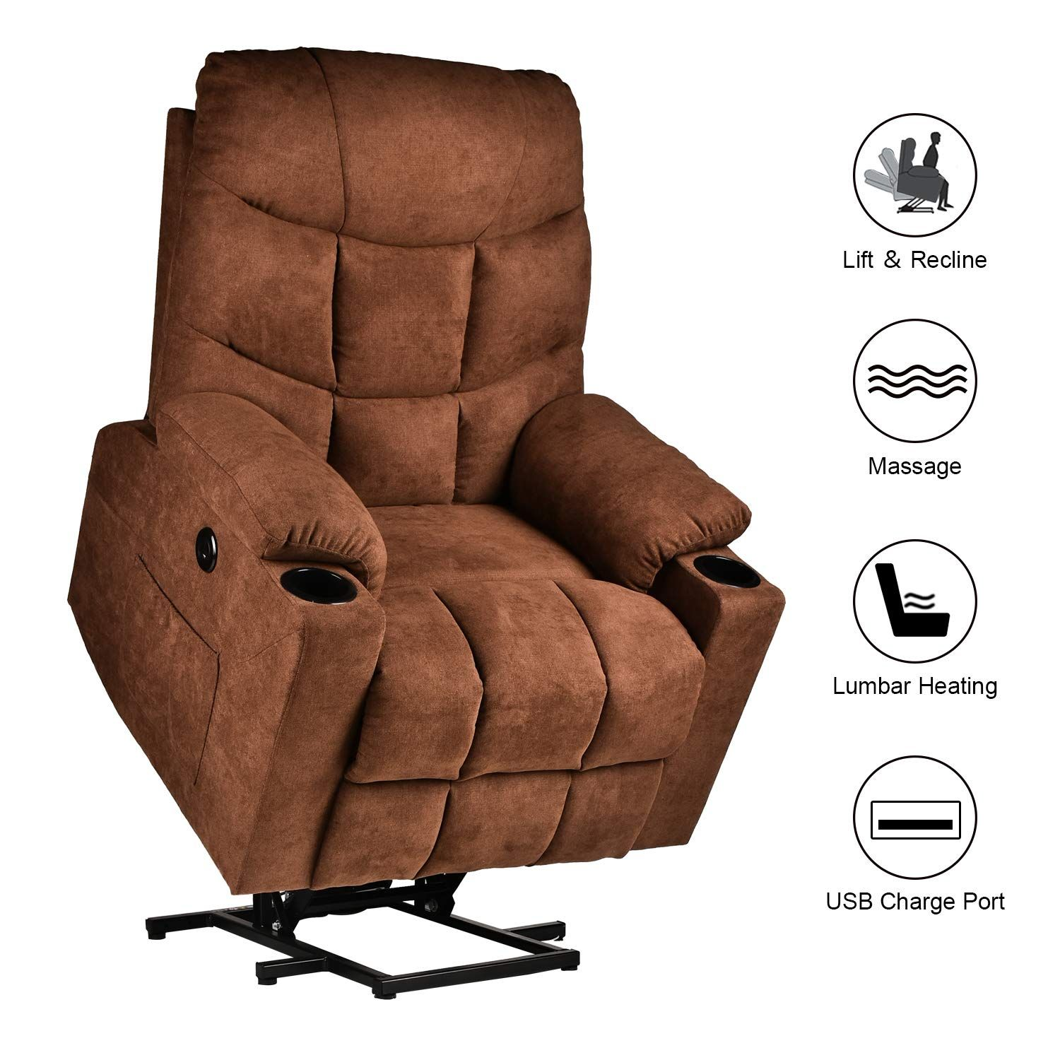 Relaxixi Power Lift Recliner Chair Electric Recliners For Elderly Heated Vibration Massage Sofa With Usb Por In 2020 Recliner Chair Lift Recliners Electric Recliners