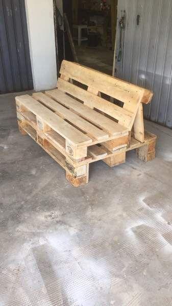 Divano divanetto pallet pancali bancali bobine patio for Mobili con bancali