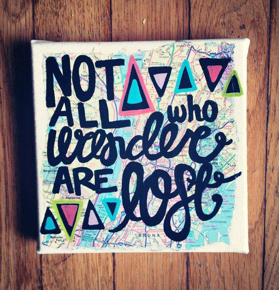 Canvas quote painting not all who wander are lost - Wandgestaltung grautone ...