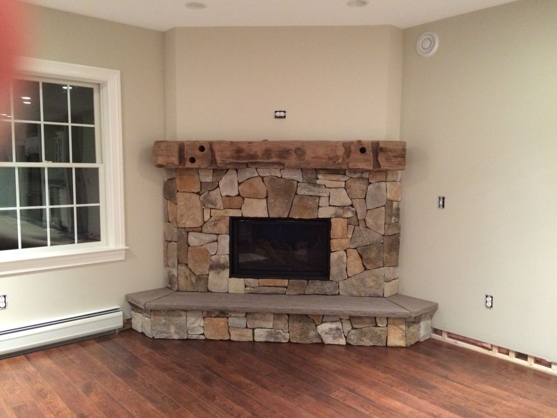 Cultured stone fireplace surround - Cultured Stone Fireplace With Driftwood Beam Mantle