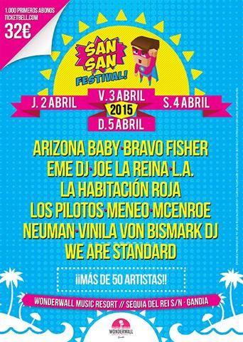 SANSAN FESTIVAL 2015 CARTEL  ENTRADAS  HORARIOS